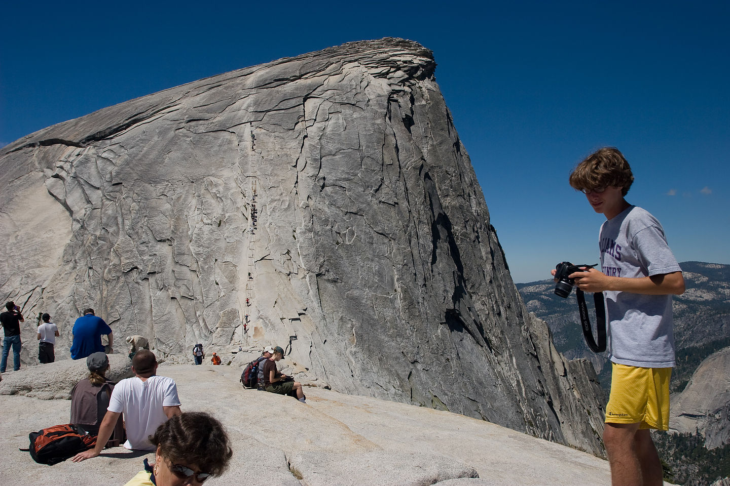 Half Dome cable view from top of shoulder