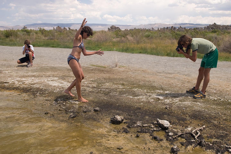 Lolo exploring brine flies of Mono Lake