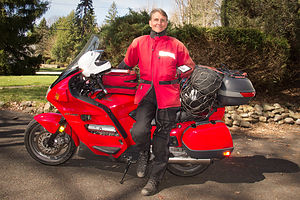 Herb in Driveway with Packed Honda ST-1100