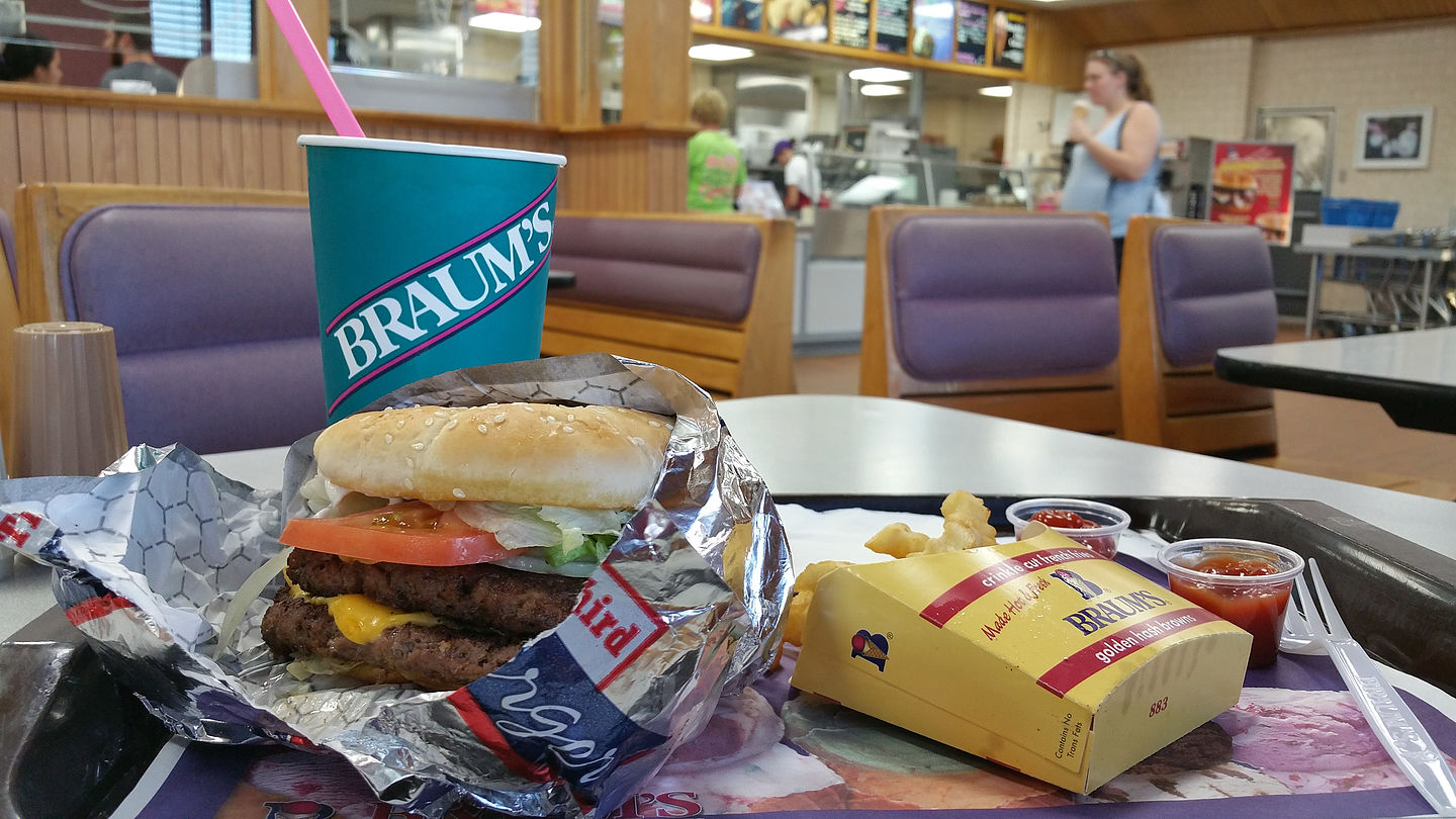 Tasty Braums Double Burger