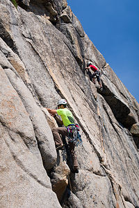 Andrew and Tommy climbing at Murphy's Creek