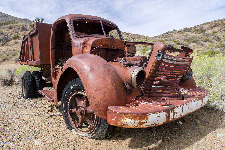 Abandoned vehicle at Goldbelt mine camp along Hidden Valley Road