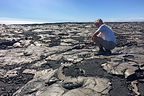 Herb playing with the lava at the end of Chain of Craters Road