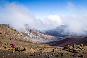 Lolo descending into Haleakala Crater