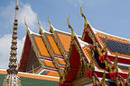 Wat Pho chedi rooftop with traditional blade-like projections