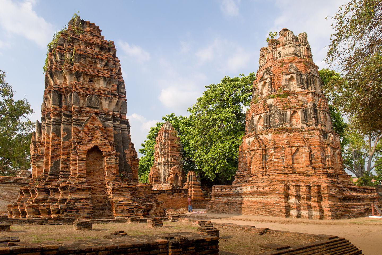 Khmer-style prangs in Ayutthaya