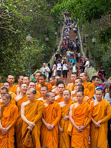Monks about to earn Buddhist merits by climbing stairs to temple