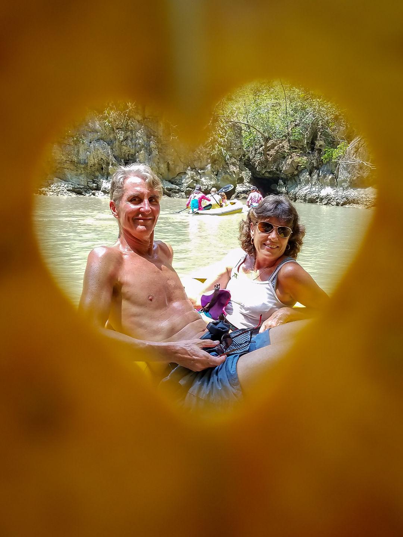 Corny romantic photo on kayak tour