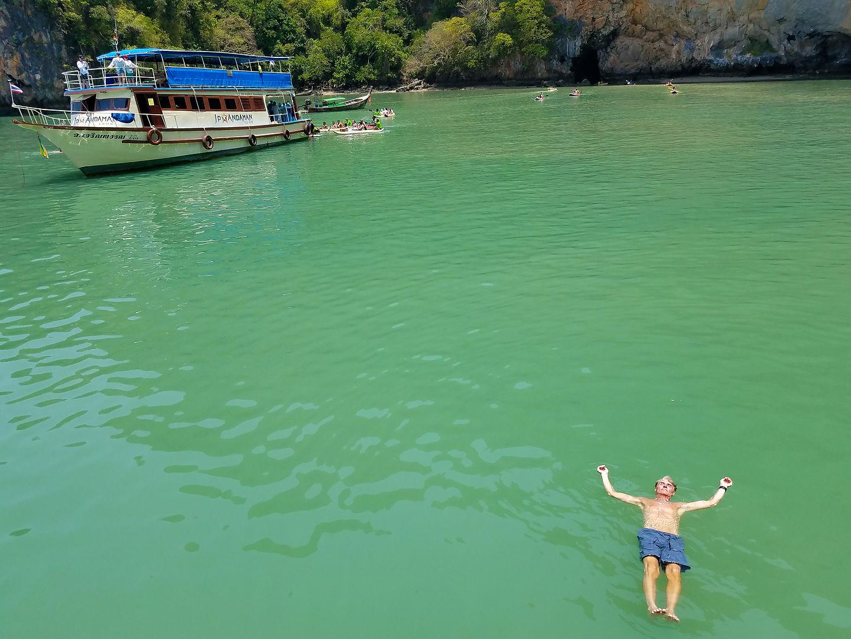 Herb enjoying a swim in Phang Nga Bay