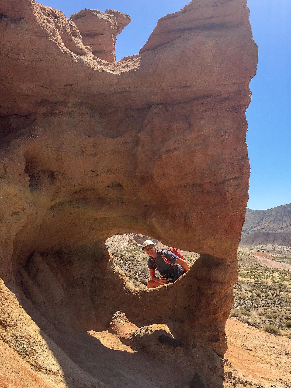 Herb peeking through window along Hagan Canyon Trail