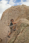 Lolo warming up to bouldering