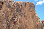 """Celeste taking the """"boot"""" off and climbing in the Alabama Hills"""