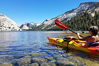 Lolo kayaking on Tenaya Lake