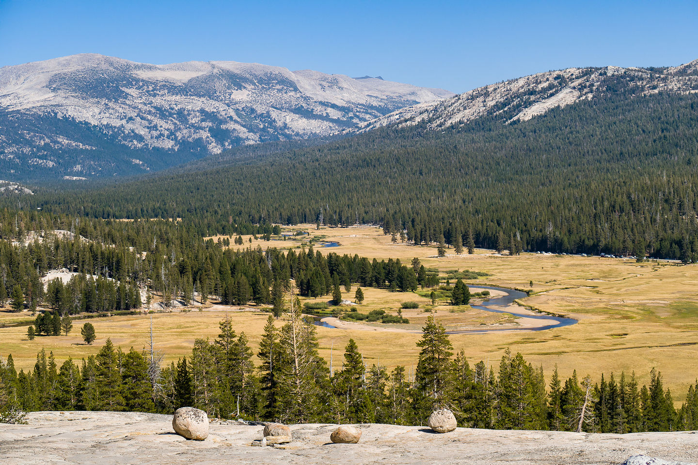 View of Tuolumne Meadows from atop Pothole Dome