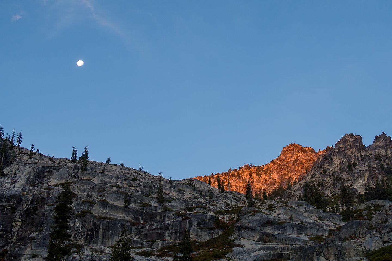 Morning Moon Rise on Boulder Creek Lake