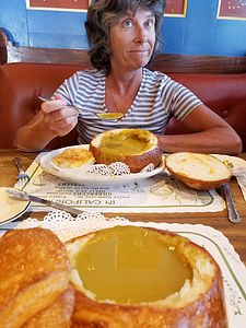 Lolo enjoying her split pea soup at Andersen's
