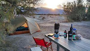 Motorcycle Camping in Furnace Creek Desert