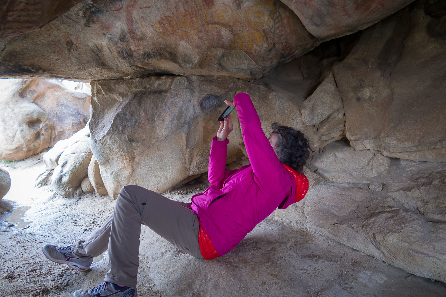 Lolo photographing the cave paintings