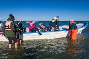 Boarding our panga