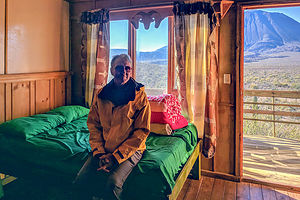 Herb enjoying his rustic cabin at Las Tres Vírgenes