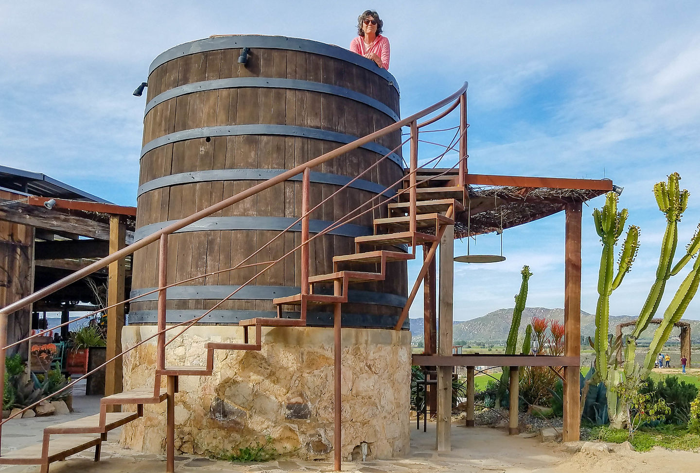Lolo enjoying the view from atop a wine barrel at Finca Altozano in the Valle de Guadalupe