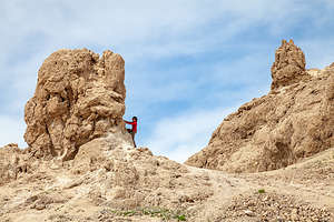 Lolo playing on Trona Pinnacles