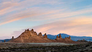 Golden hour at Trona Pinnacles