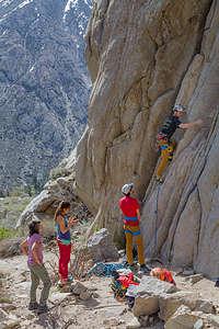 Climbing in Pine Creek Canyon