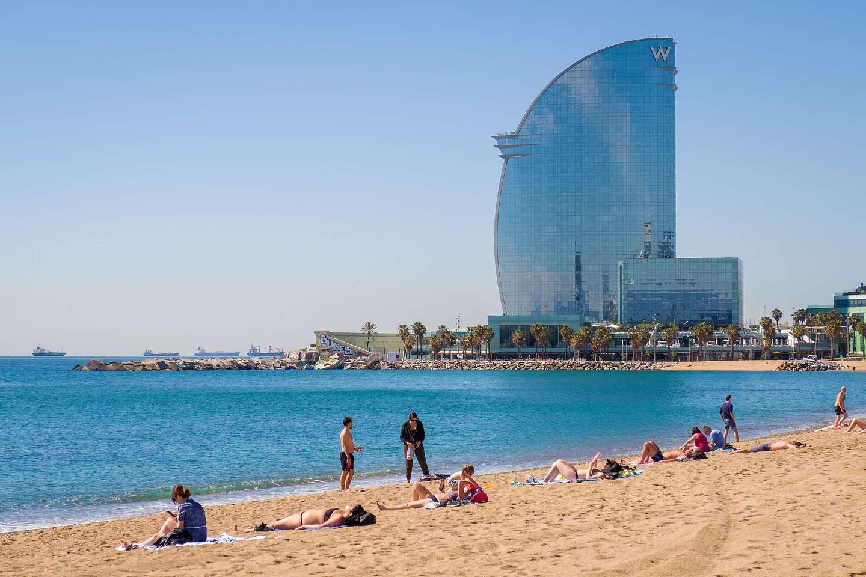 "The Big ""W"" watching over Barceloneta Beach"