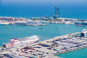 View of the Port of Barcelona from Montjuic