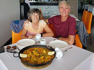 Enjoying paella at Camping La Marina Restaurant