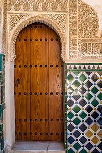 Lovely tilework and decorative Arabric script in the Alhambra