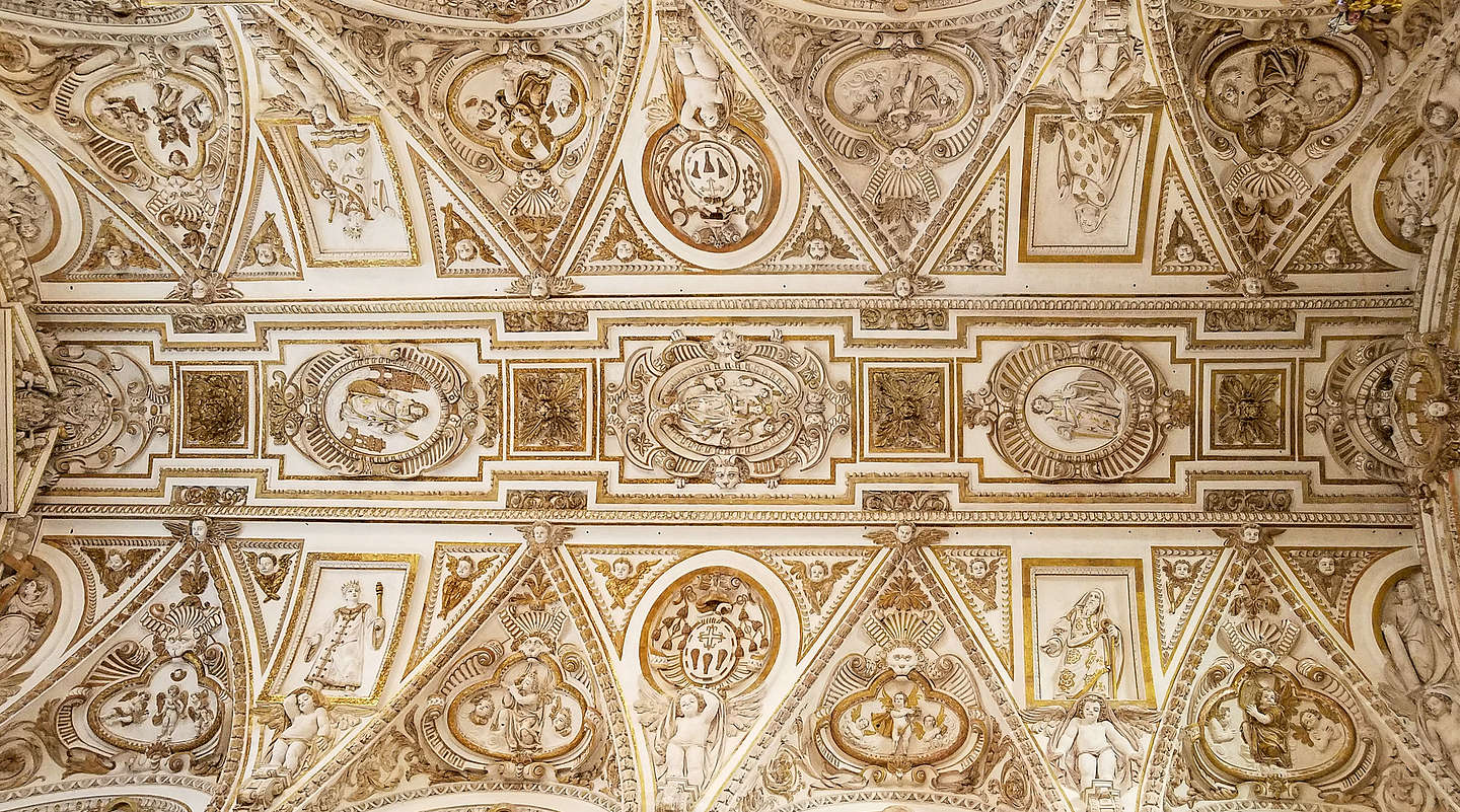Ceiling detail of the Baroque-style choir