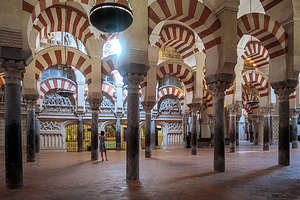 The Mezquita's forest of Islamic red-and-white arches