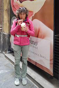 Lolo enjoying her birthday cafe con helado (ice cream)