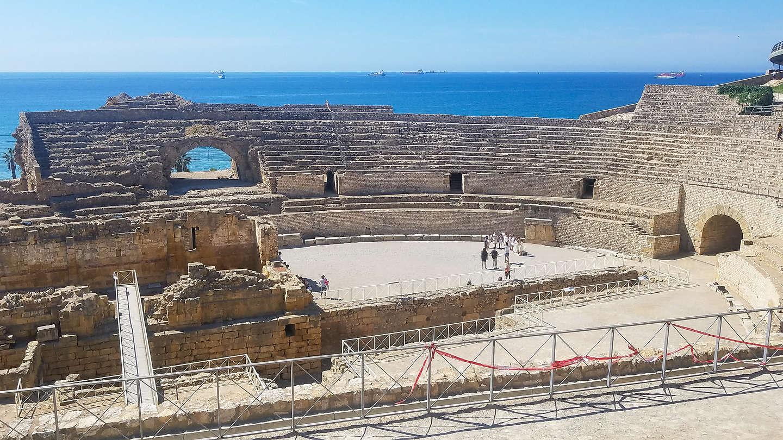 Ruins of a 2nd century AD Roman amphitheater in Tarragona