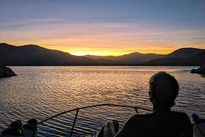 Herb enjoying his first sunset on Shasta Lake