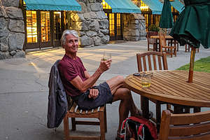 Relaxing on the Ahwahnee patio after a very tiring day for both of us