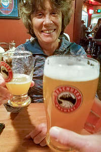 Lolo enjoying the Deschutes Brewery
