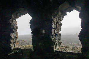What should have been a great view through the windows of the Dee Wright Observatory,