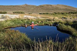 Herb enjoying the natural hot spring