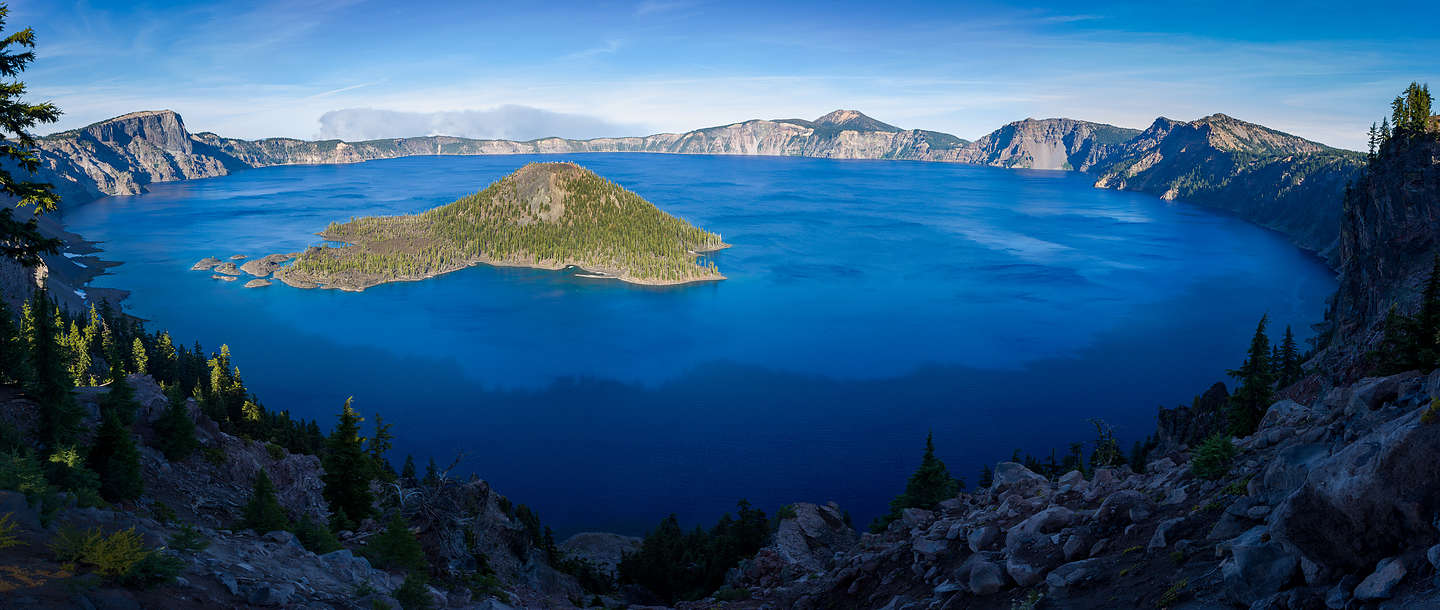 View of Crater Lake and Wizard Island from atop Watchman Peak