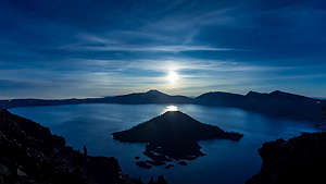 Full moon rising over Crater Lake