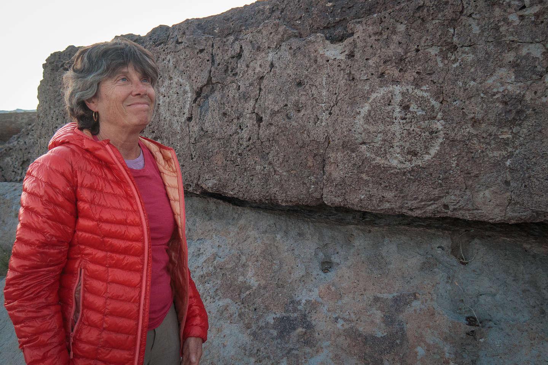 Lolo finds petroglyphs along Fish Slough Road