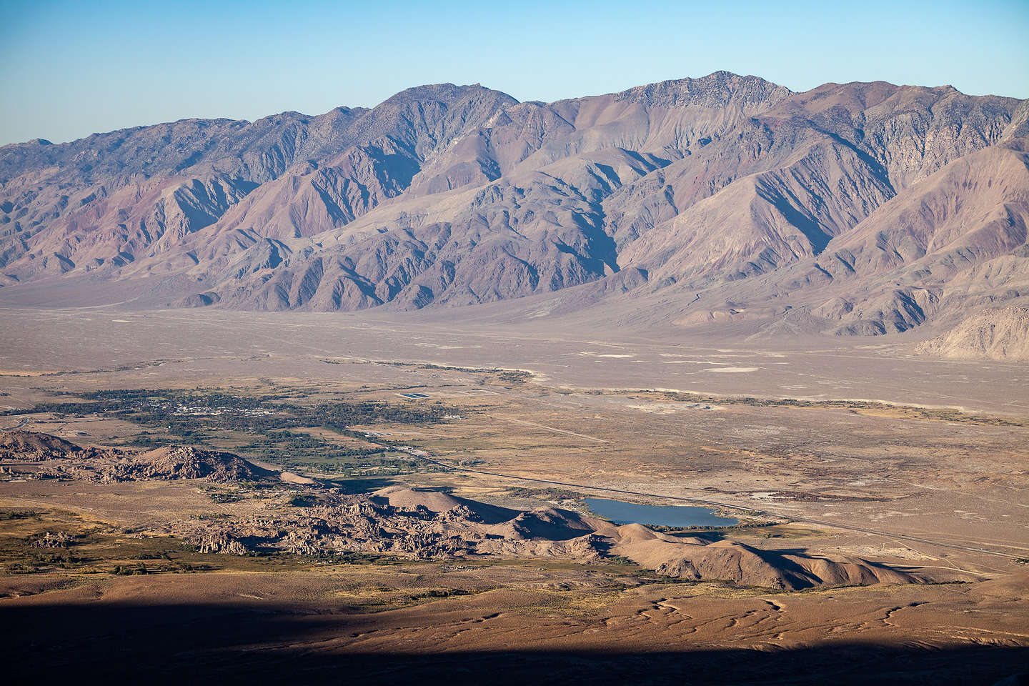 Looking down on the Alabama Hills from Horseshoe Meadow Road