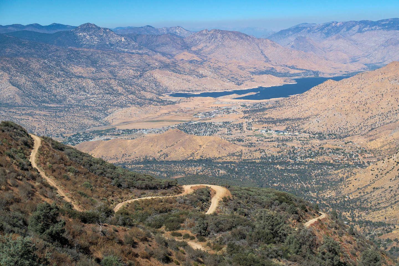 Twisty road down to Lake Isabella