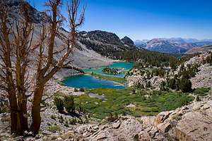 Looking down at Barney Lake on the way to Duck Pass
