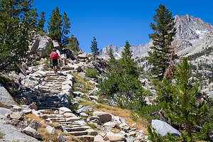 Hiking the rock steps on the way to Lake Sabrina