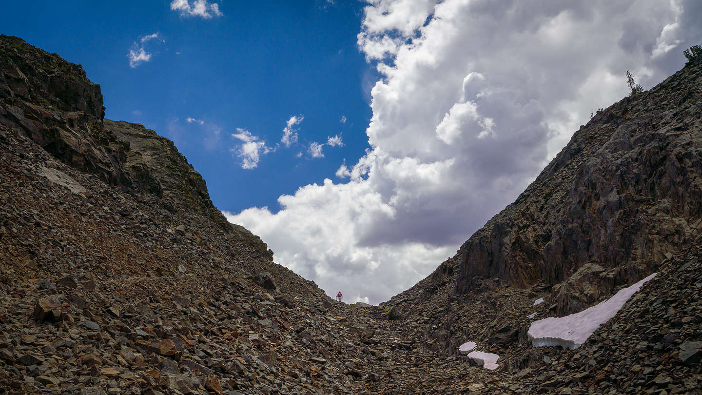 Up the rocky gorge on the 20 Lakes Basin hike