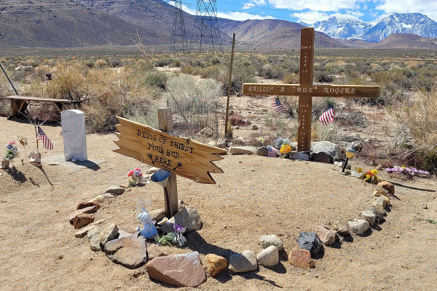 One of the more interesting graves at the Paiute Cemetery
